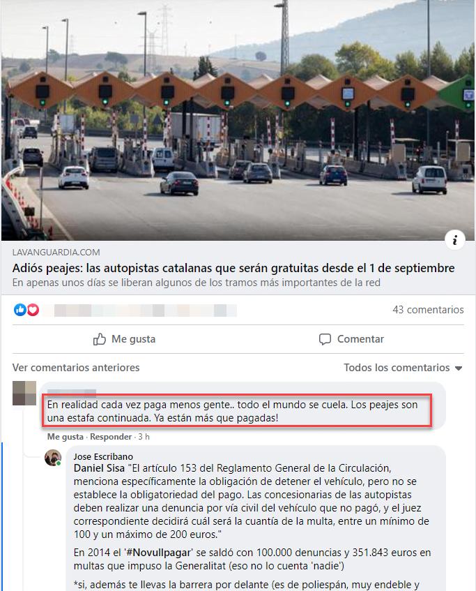 Comentario peajes facebook